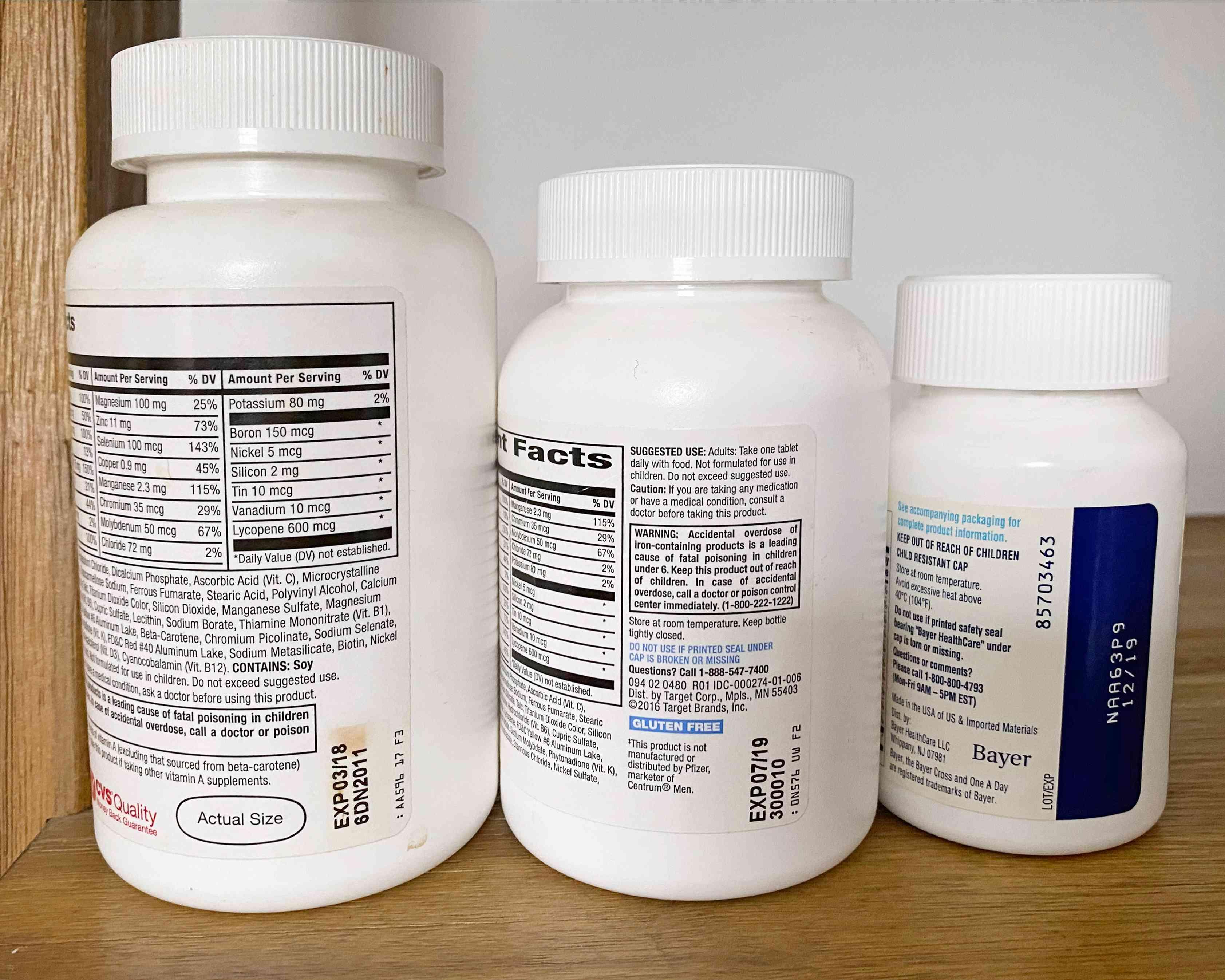 expired bottles of multivitamins