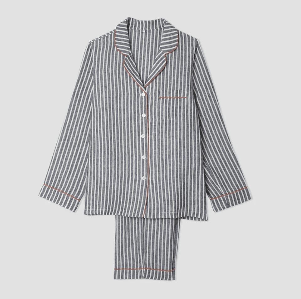 Piglet Midnight Stripe Linen Pajama Trousers Set