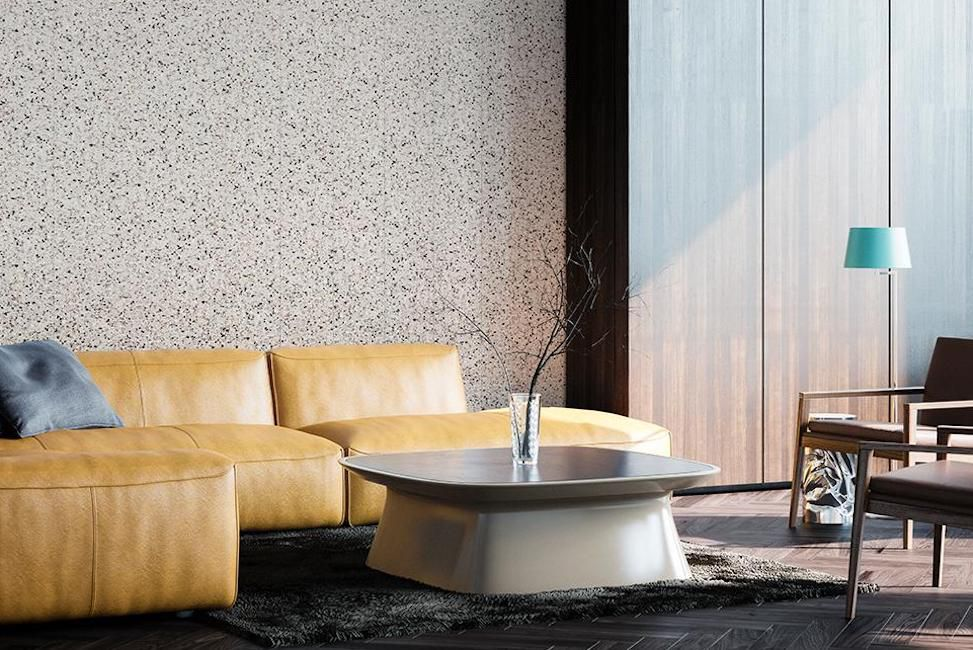 living room with terrazzo wall panel
