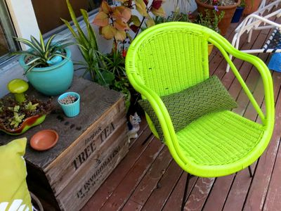 vintage chair painted green