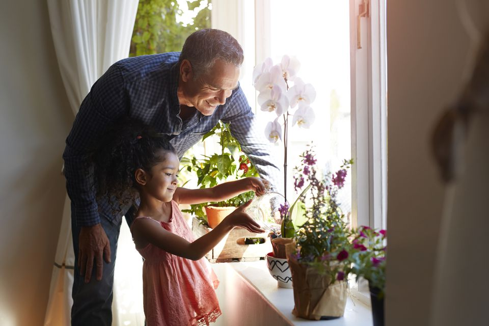 Mature man assisting granddaughter, watering plant