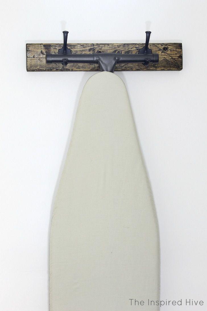 DIY Rustic Wood Ironing Board Hanger