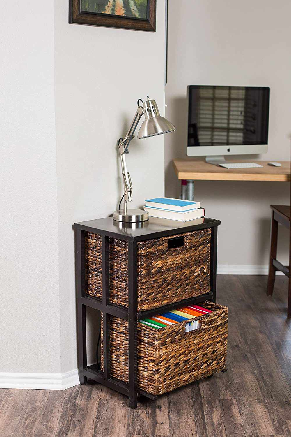 BirdRock Home Havana 2 Tiered File Cubby with Wood