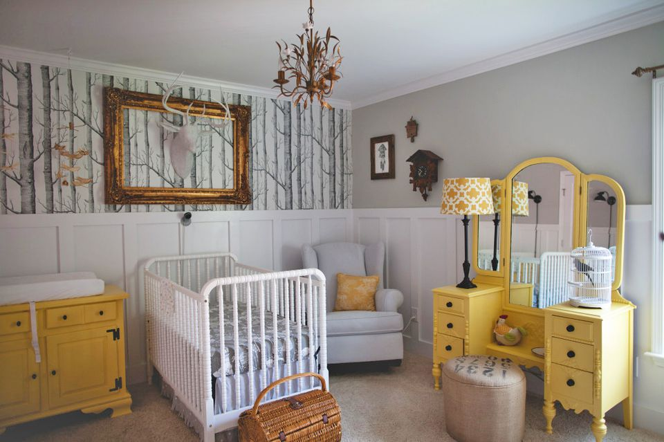 Eclectic grey and yellow woodland fairytale nursery