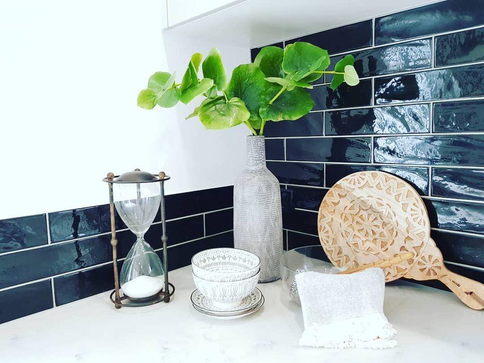 Black subway tile in kitchen