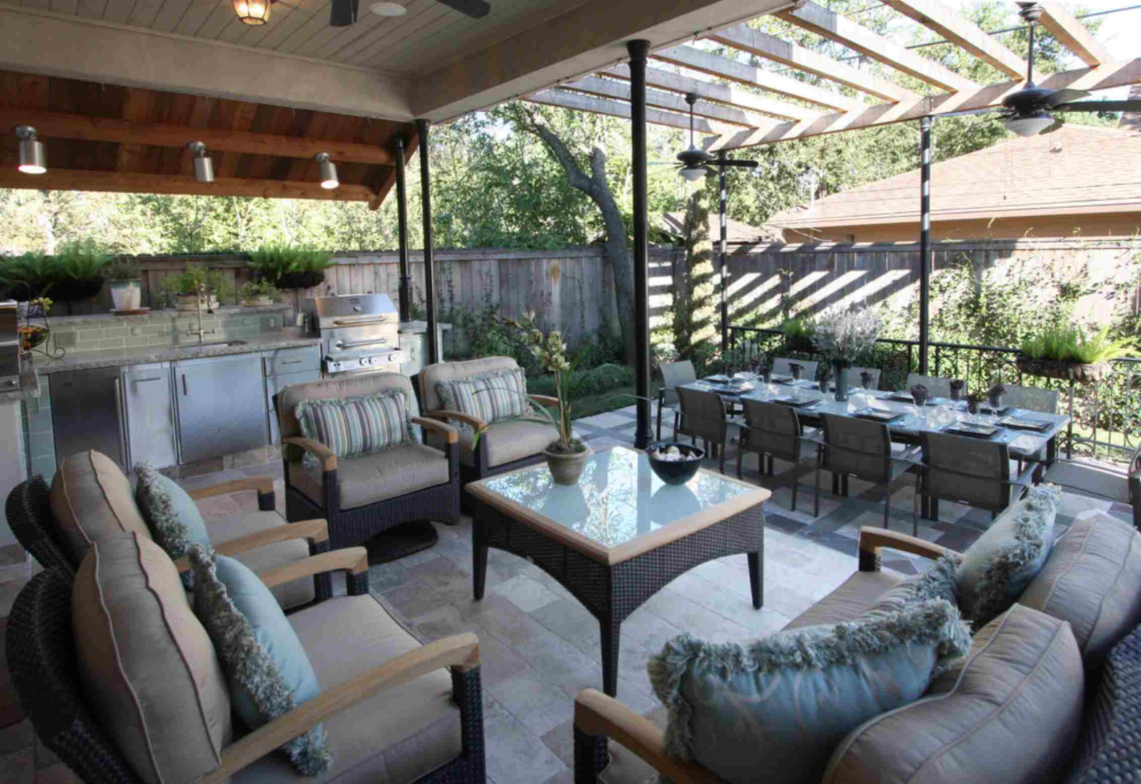 covered patio outdoor living room and dining room