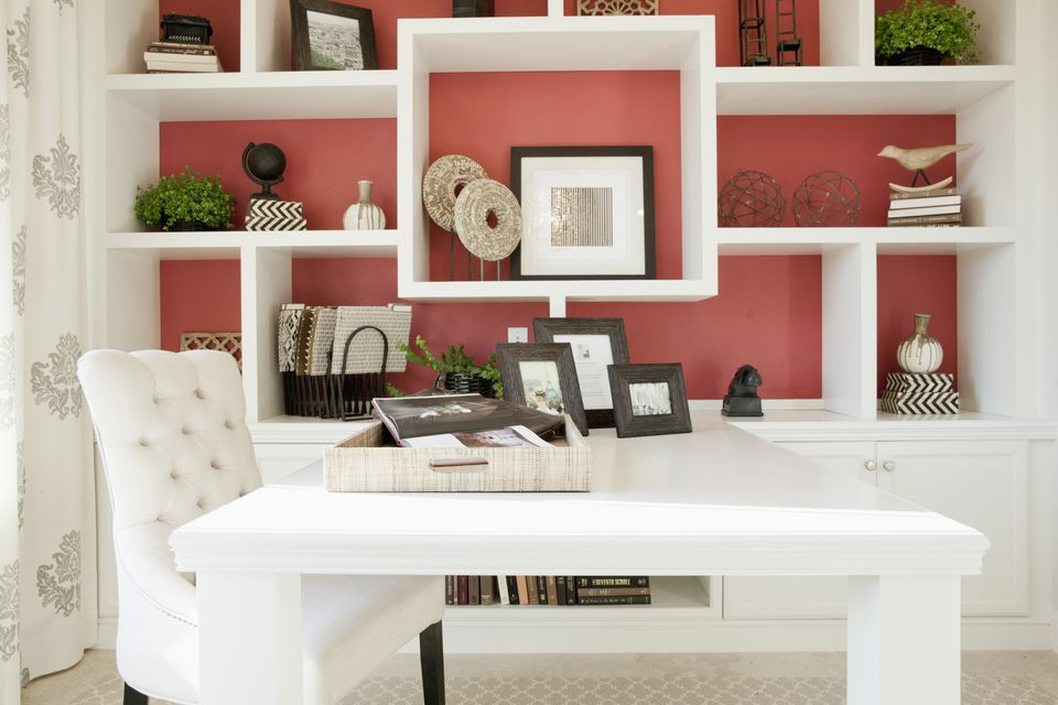 A stylish white home office