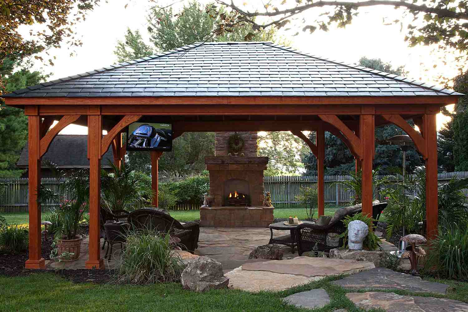 covered patio outdoor fireplace