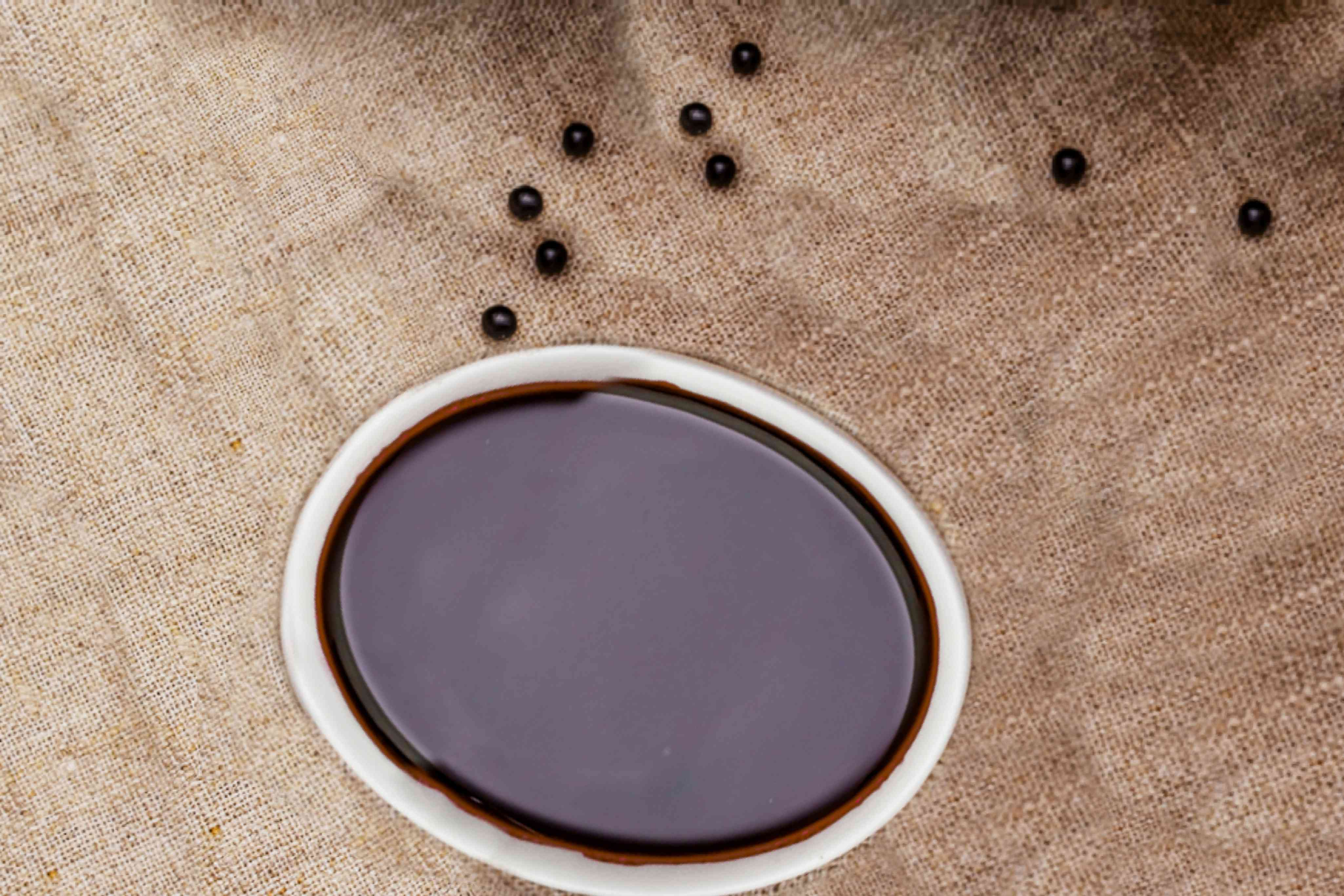 Elderberry syrup in a bowl