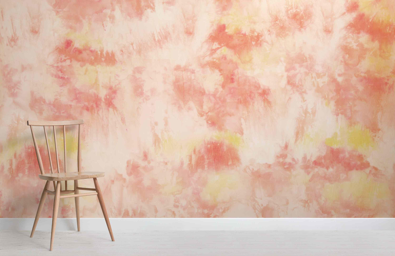 Yellow and orange tie dye wallpaper from Murals Wallpaper.