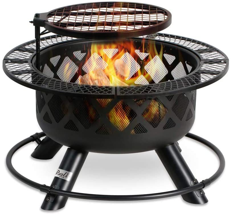 Bali Outdoors Wood Burning Fire Pit with Cooking Grill
