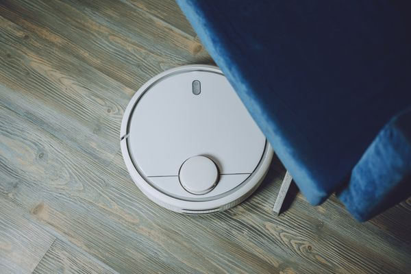 robot vacuum on wood