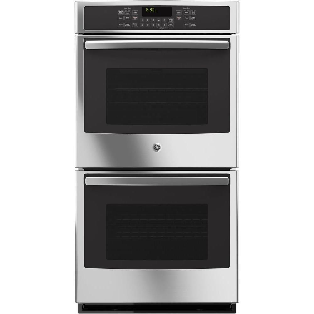 Ge 27 In Double Electric Wall Oven Self Cleaning With Steam Plus Convection