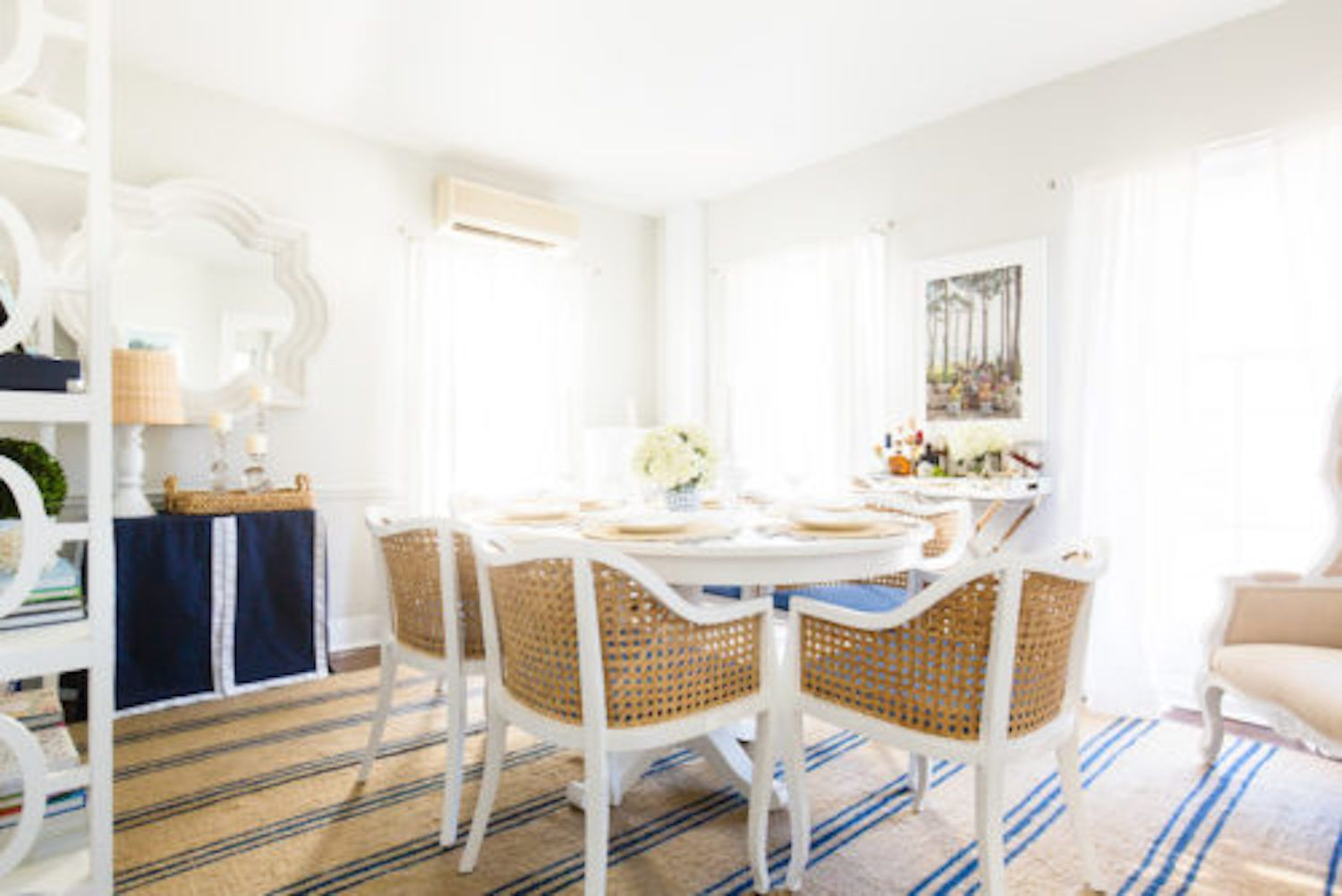 preppy coastal dining room blue and white