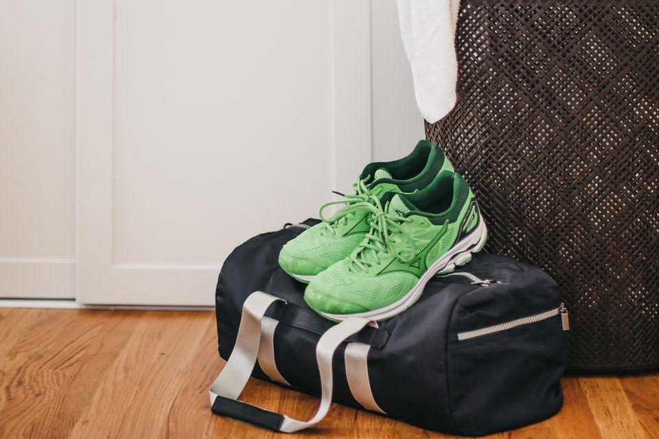 sneakers by the hamper