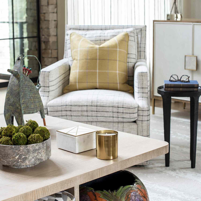 a living room with seasonal decor