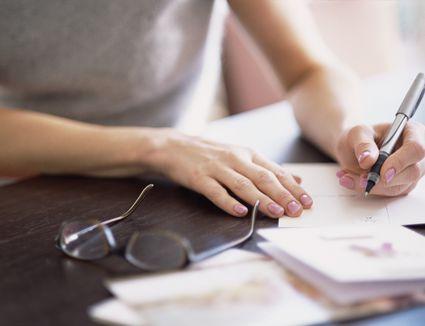 Woman writing card