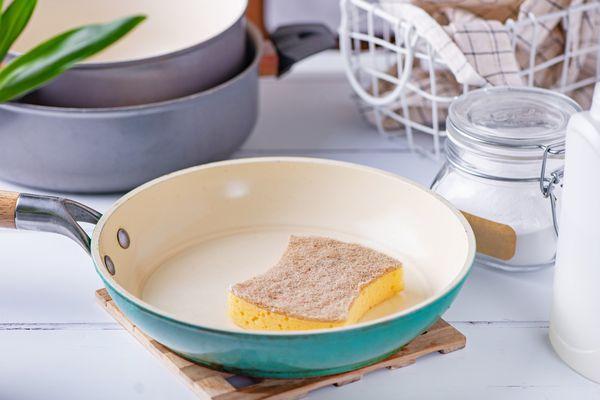 sponge in a ceramic skillet