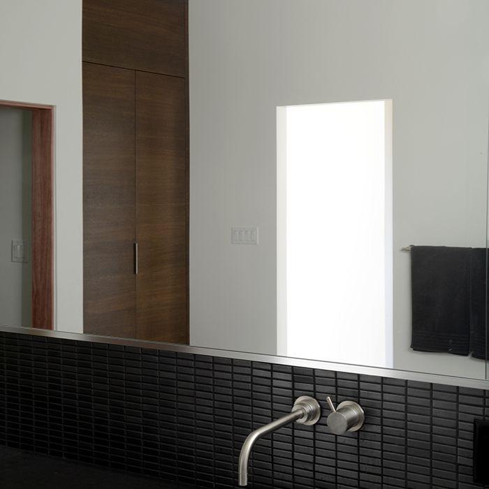 Black tile backsplash