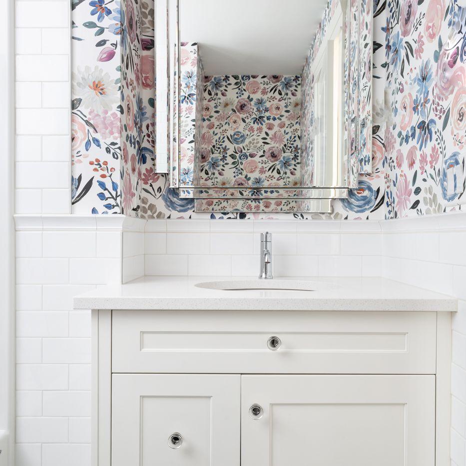 Bathroom floral wallpaper