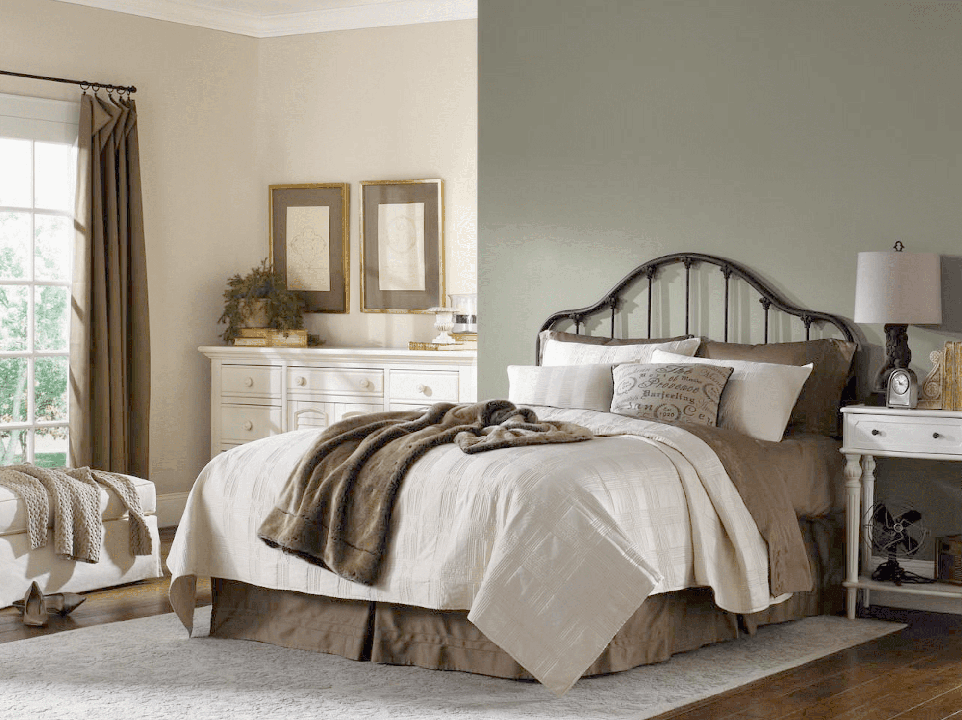 A bedroom painted with Sherwin-Williams Escape Gray