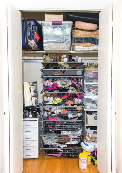 closet with cluttered storage