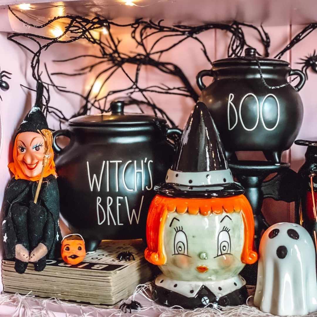 Retro witches and new, retro-inspired clay treat buckets.