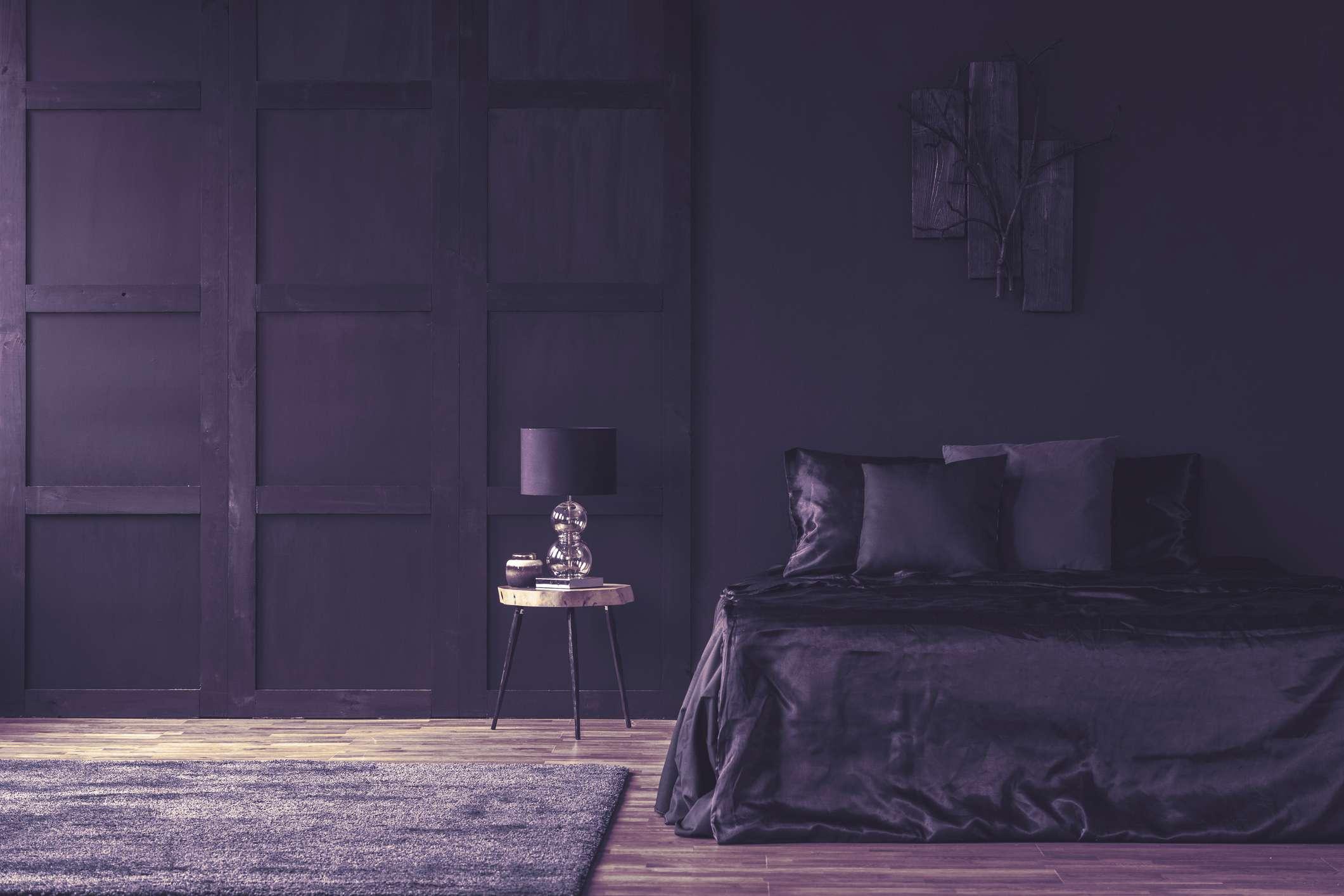 dramatic purple bedroom