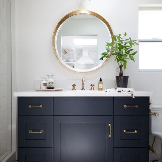 gold and navy classic bathroom vanity