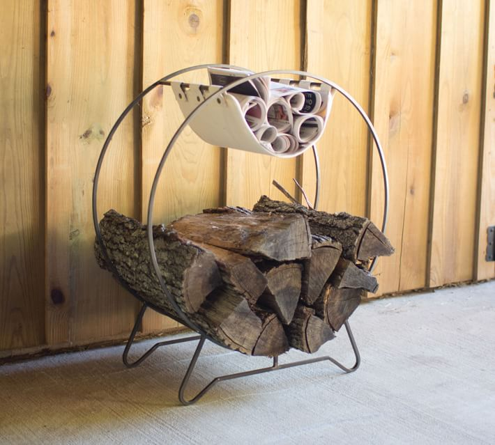 Pottery Barn Round Log Holder With Canvas Kindling Sling