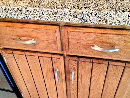 Refaced Kitchen Cabinets with Quartz Countertop.