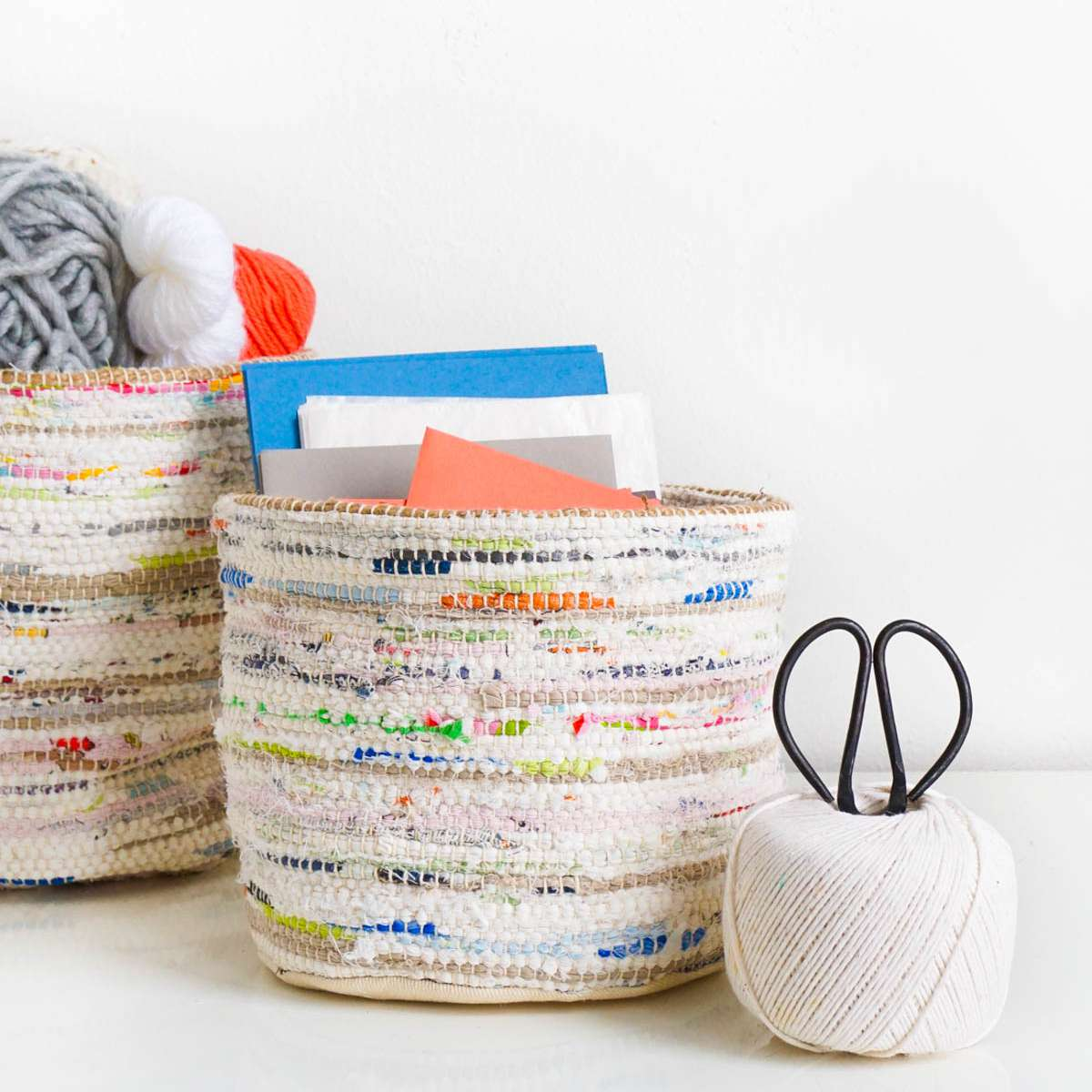 rope storage baskets used for storing craft supplies