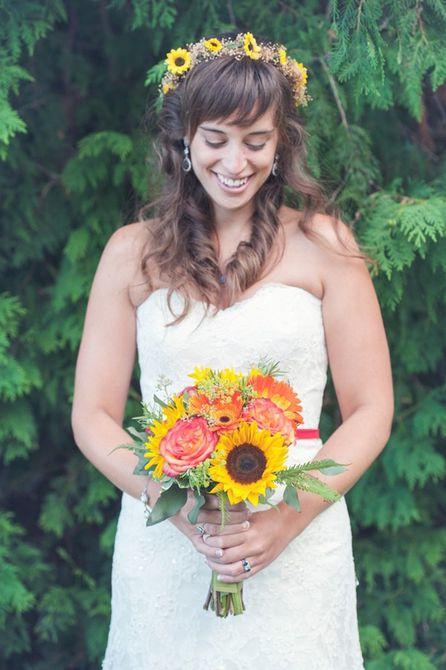 Ramo de novia de verano de girasol