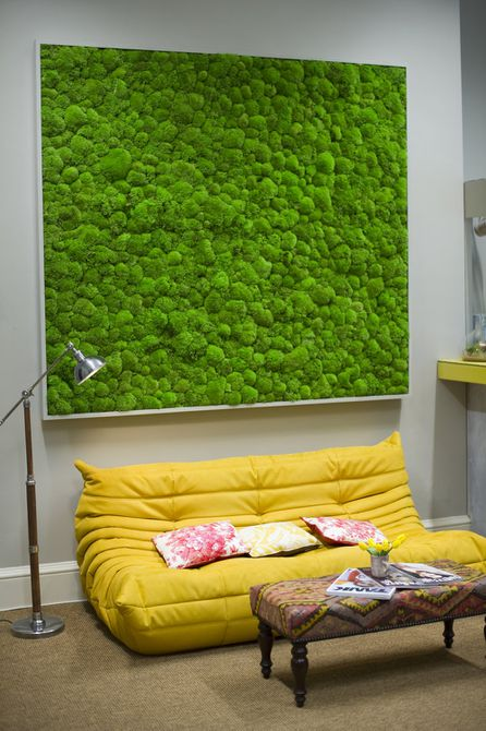 Moss Walls Add Color and Texture to Small Living Room