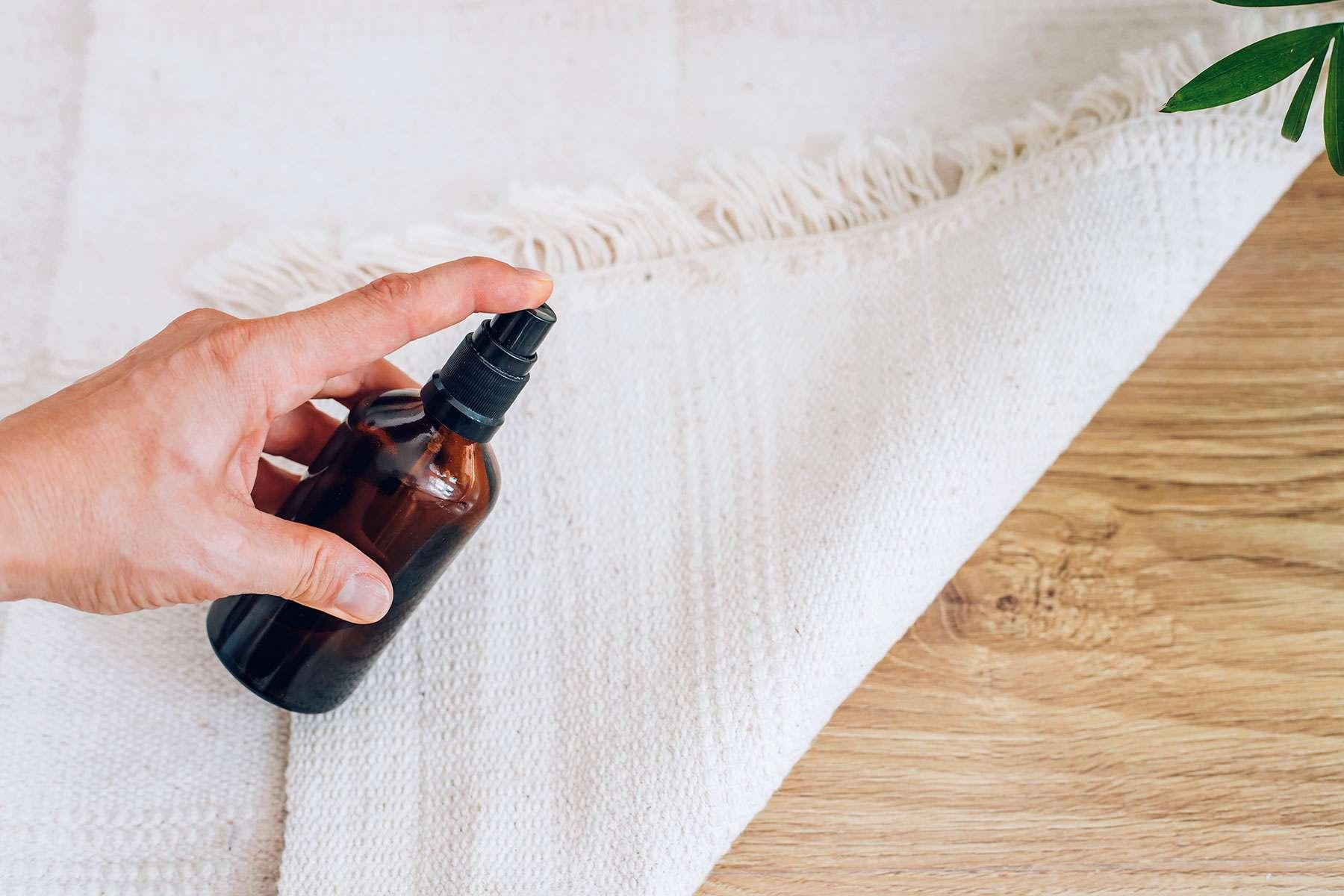 Tan carpet soaked with anti-mold spray