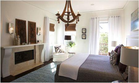 Wooden Chandelier In Master Bedroom