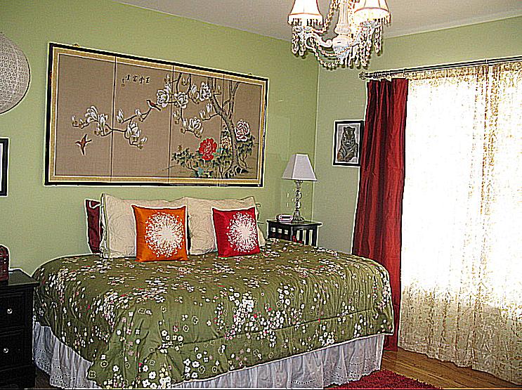 Habitación verde y roja