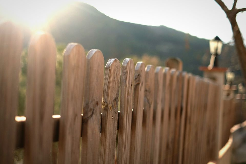 Up-close view of a wooden fence