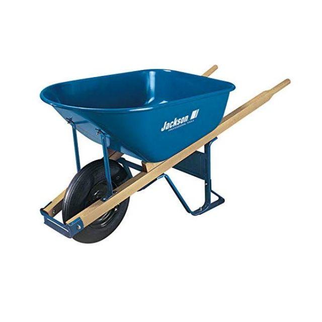 Steel Braces and Solid Tire Kid/'s Garden Wheelbarrow with Wood Handles