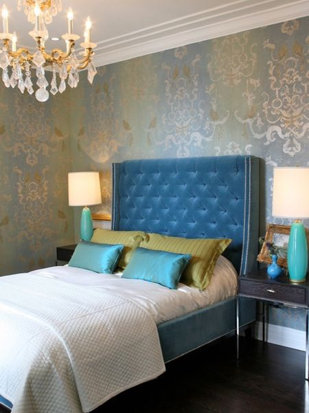 Blue Gets Glamorous Bedroom With Chandelier