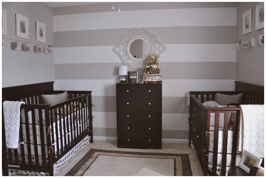 Neutral grey twin nursery