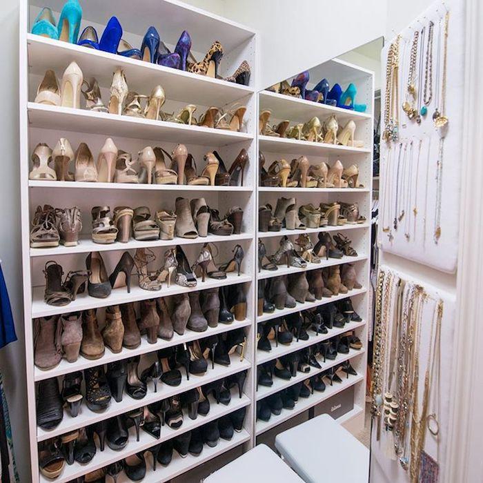 shoe closet with necklaces