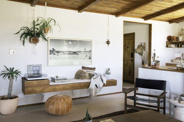 The Joshua Tree House, boho style nook near kitchen and entryway