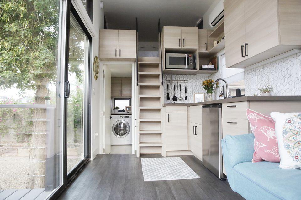 tiny home living room kitchen