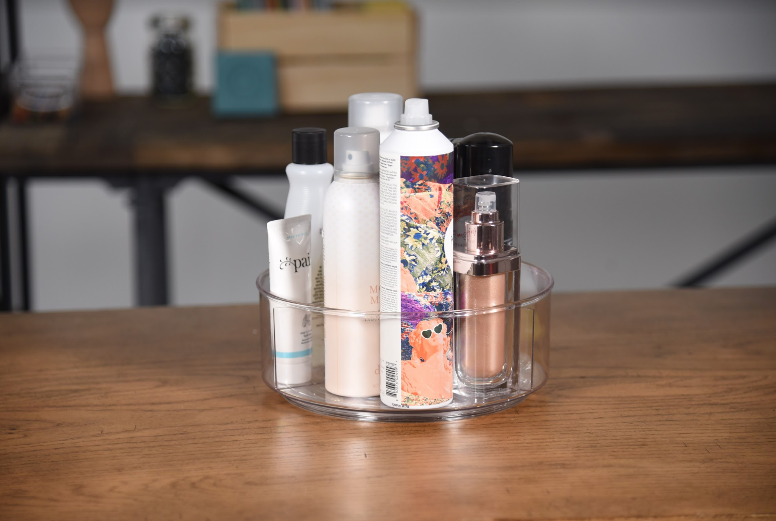 beauty product in a lazy susan