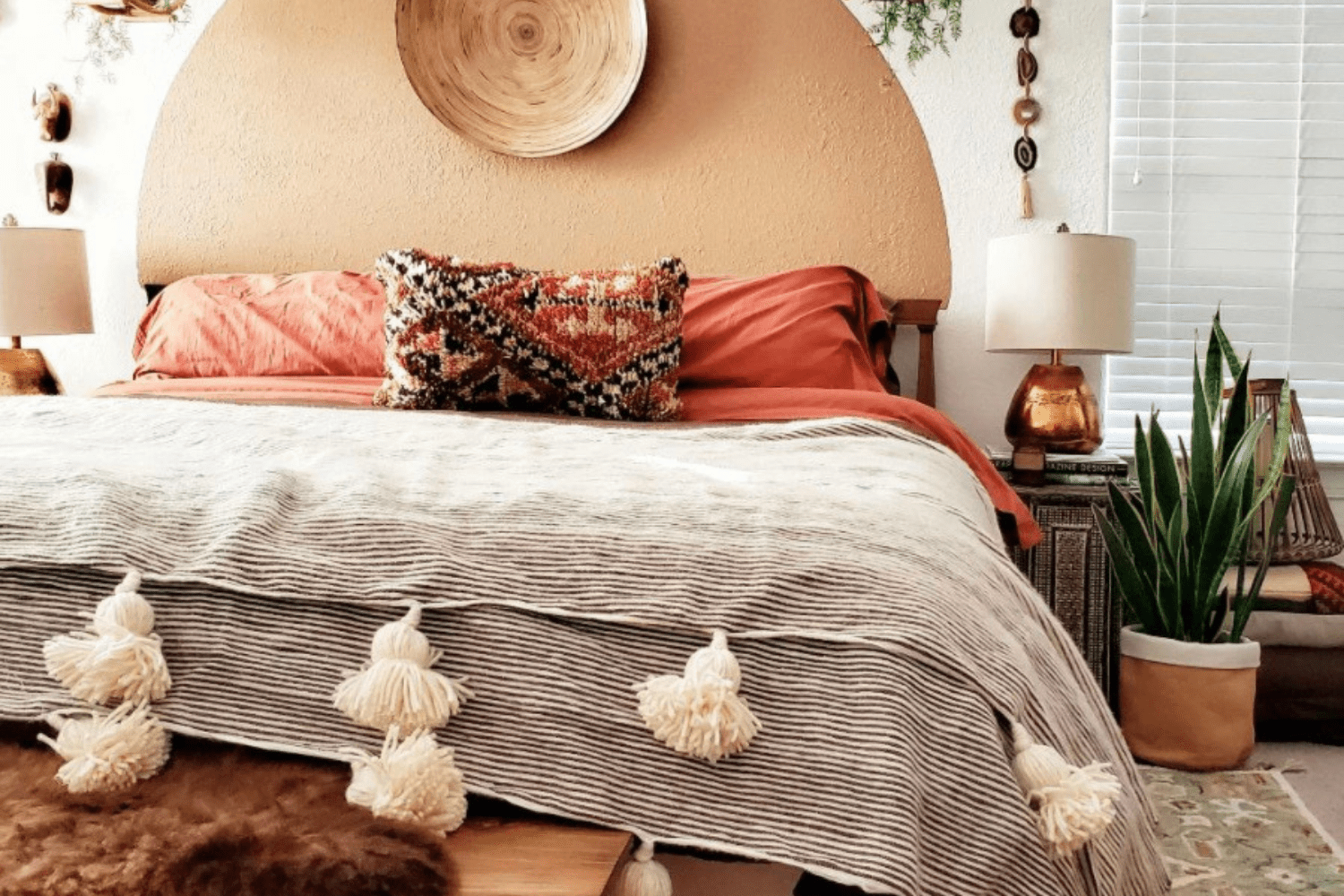 brown and red bohemian bedroom