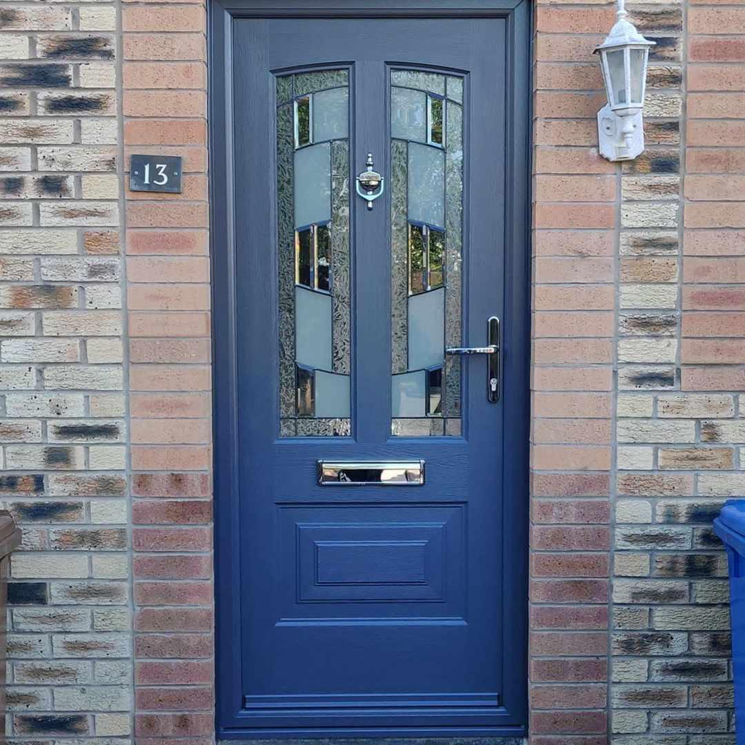 Front door with blue paint