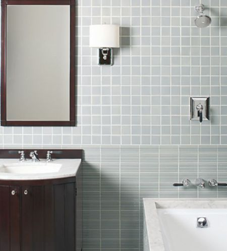 Spare Modern Bathroom Decorating Idea with Square Tiles and Dark Cabinet
