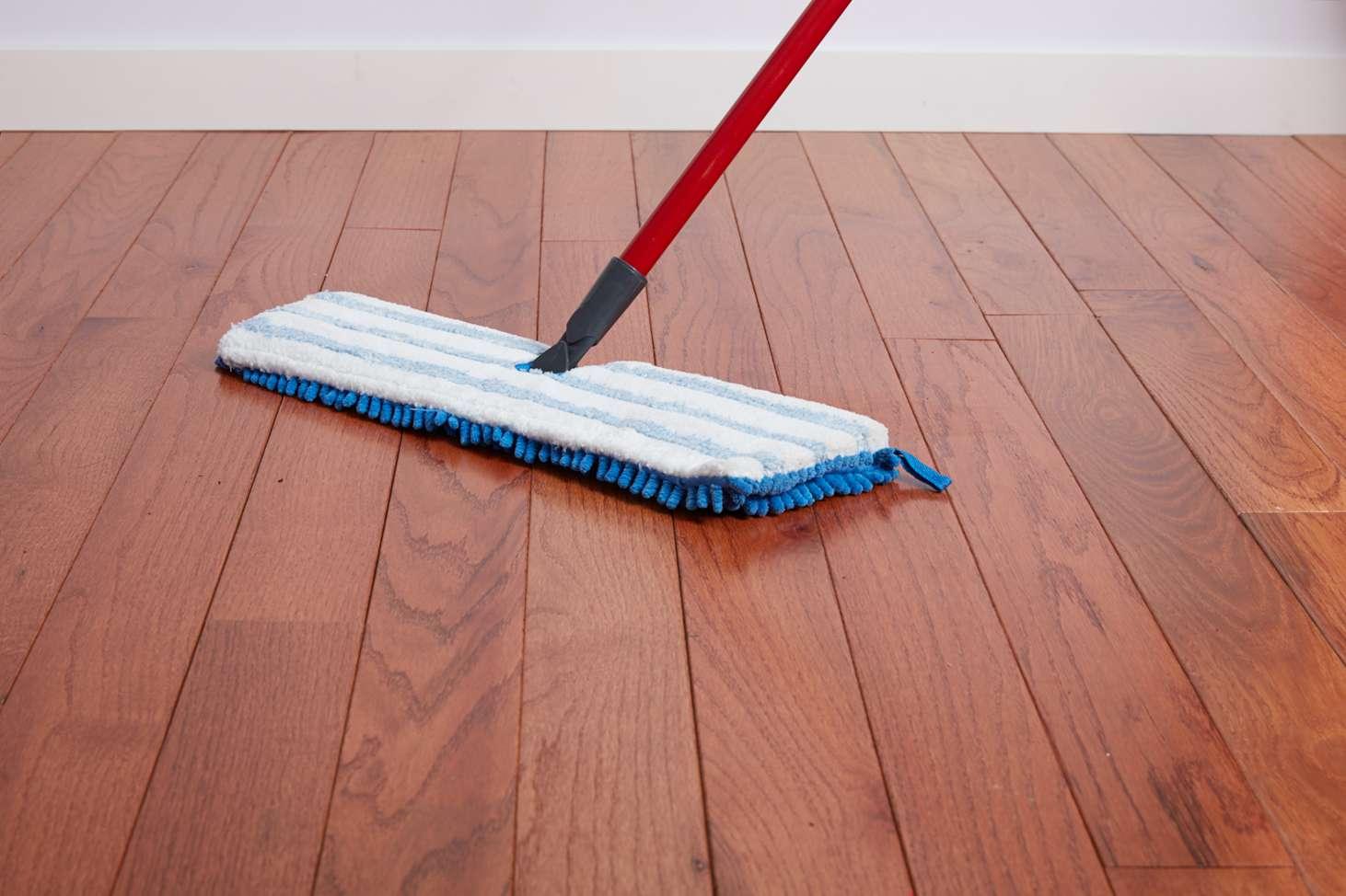 Microfiber mop on hardwood floor