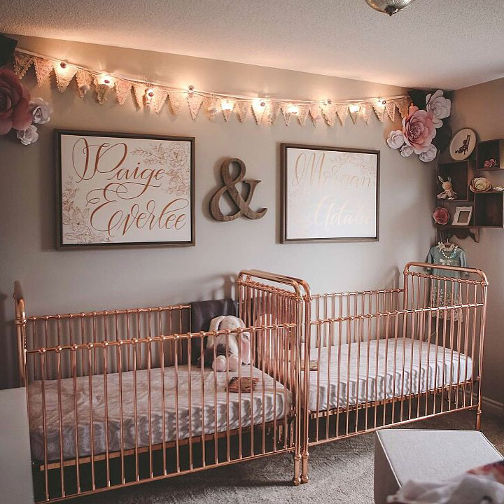 Vintage, Pink and Gold Twin Room